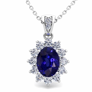 Diamond and Sapphire Necklace in 14k Gold Halo Pendant 8x6mm