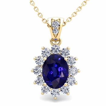 Diamond and Sapphire Necklace in 18k Gold Halo Pendant 8x6mm