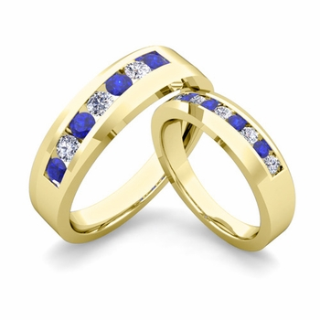 His and Hers Matching Wedding Band in 18k Gold Channel Set Diamond and Sapphire Ring