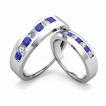 His and Hers Matching Wedding Band in Platinum Channel Set Diamond and Sapphire Ring