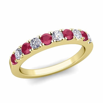 Brilliant Pave Diamond and Ruby Wedding Ring Band in 18k Gold