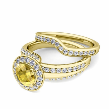 Wave Diamond and Yellow Sapphire Engagement Ring Bridal Set in 18k Gold, 7mm