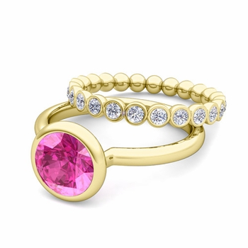 Bezel Set Pink Sapphire Ring and Diamond Wedding Ring Bridal Set in 18k Gold, 7mm