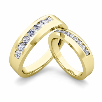His and Hers Matching Wedding Band in 18k Gold Channel Set Diamond Ring
