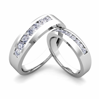 His and Hers Matching Wedding Band in Platinum Channel Set Diamond Ring