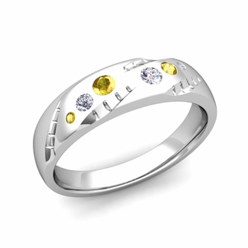 Mens Flush Set Diamond and Yellow Sapphire Wedding Band in Platinum, 6mm