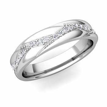 Wave Wedding Band in 14k Gold Diamond Ring, 5mm