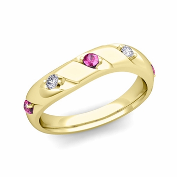 Curved Pink Sapphire and Diamond Wedding Ring Band in 18k Gold, 3.5mm