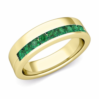 Channel Set Comfort Fit Emerald Wedding Ring in 18k Gold, 4mm