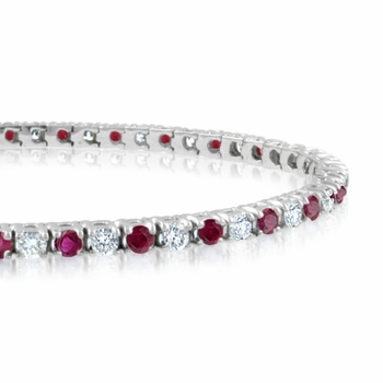 Ruby and Diamond Bracelet in 14k White Gold Bracelet G, SI1, 4.25 cttw 7 inches