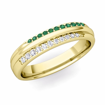 Brilliant Pave Diamond and Emerald Wedding Ring in 18k Gold, 3.5mm