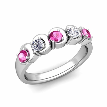 Organica 5 Stone Diamond and Pink Sapphire Ring in 14k Gold, 3.5mm