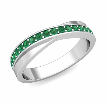 Infinity Emerald Wedding Ring Band in Platinum, 3.8mm