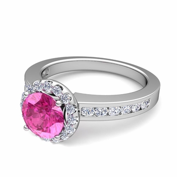Diamond and Pink Sapphire Halo Engagement Ring in Platinum Channel Set Ring, 7mm