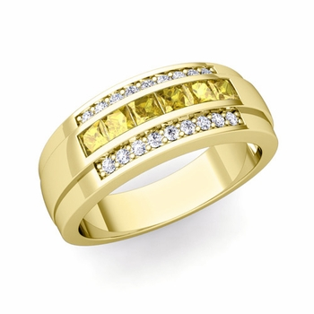 Princess Cut Yellow Sapphire and Diamond Mens Wedding Band in 18k Gold, 8mm