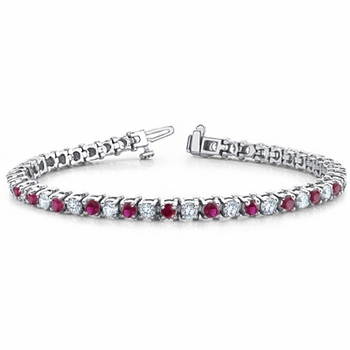 Ruby and Diamond Bracelet in 18k White Gold Bracelet G, SI1, 4.25 cttw 7 inches