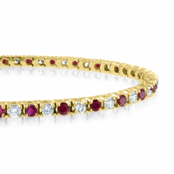 Ruby and Diamond Bracelet in 18k Yellow Gold Bracelet G, SI1, 4.25 cttw 7 inches
