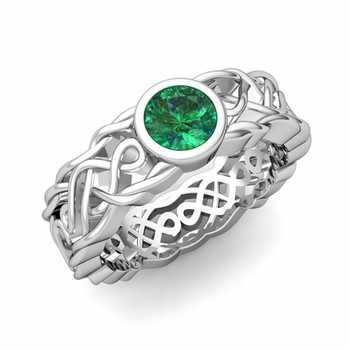 Solitaire Emerald Ring in Platinum Celtic Knot Wedding Band, 5.5mm