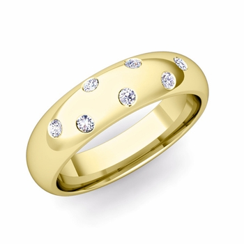 Comfort Fit Scattered Diamond Wedding Band in 18k Gold, 5mm