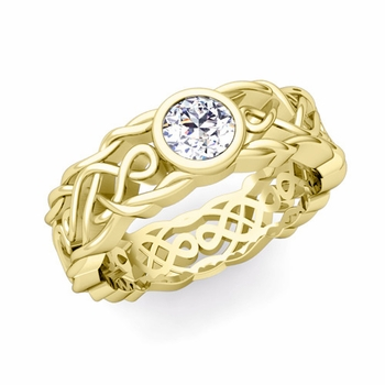 Solitaire Diamond Ring in 18k Gold Celtic Knot Wedding Band, 6.5mm