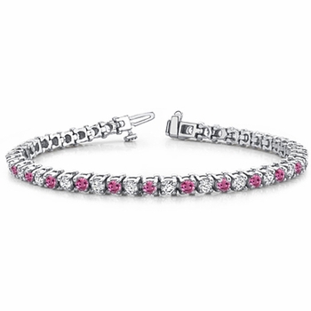 Pink Sapphire and Diamond Bracelet in Platinum Bracelet G, SI1, 4.25 cttw 7 inches