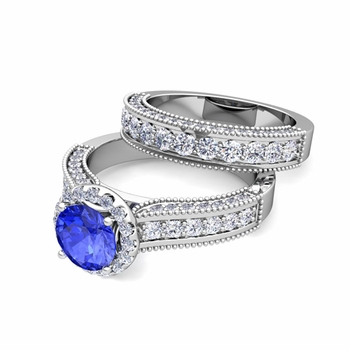 Bridal Set of Heirloom Diamond and Ceylon Sapphire Engagement Wedding Ring in Platinum, 7mm