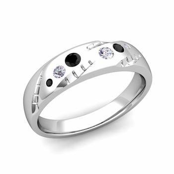 Mens Flush Set Black and White Diamond Wedding Band in Platinum, 6mm