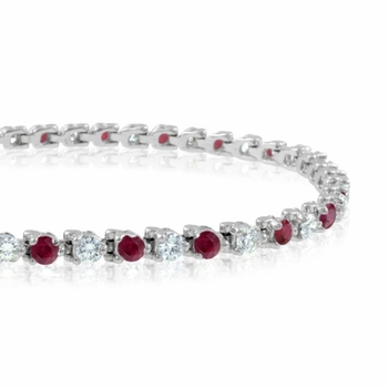 Diamond and Ruby Bracelet in 14k White Gold Bracelet G, SI1, 4.25 cttw 7 inches
