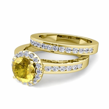 Halo Bridal Set: Diamond and Yellow Sapphire Engagement Wedding Ring in 18k Gold, 7mm