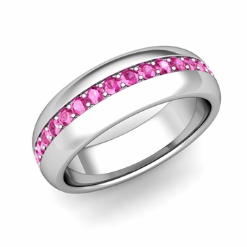 Pave Set Comfort Fit Pink Sapphire Wedding Band Ring in 14k Gold, 5.5mm