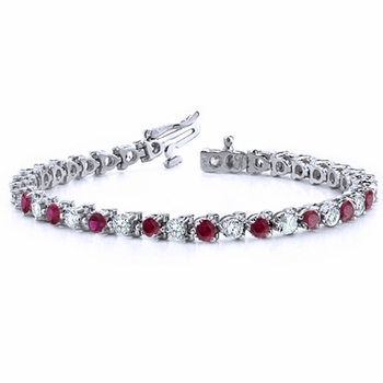 Diamond and Ruby Bracelet in 18k White Gold Bracelet G, SI1, 4.25 cttw 7 inches