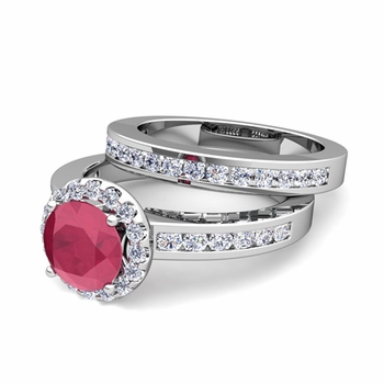 Halo Bridal Set: Diamond and Ruby Engagement Wedding Ring in Platinum, 5mm