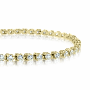 Diamond Bracelet in 18k Yellow Gold Tennis Bracelet G, SI1, 5.00 cttw 7 inches