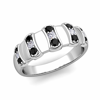 Geometric Black and White Diamond Mens Wedding Ring Band in Platinum, 8mm