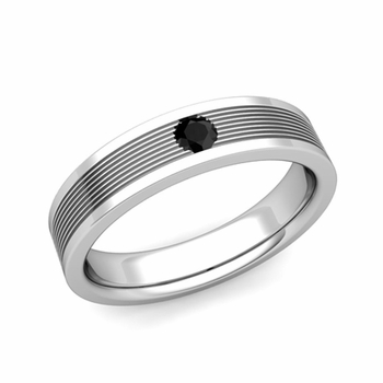 Solitaire Black Diamond Mens Wedding Band in Platinum Comfort Fit Ring, 5mm