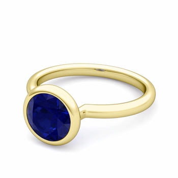 Bezel Set Solitaire Blue Sapphire Ring in 18k Gold, 7mm