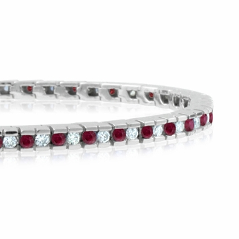 Channel Set Diamond And Ruby Bracelet In 14k White Gold G Si1 3