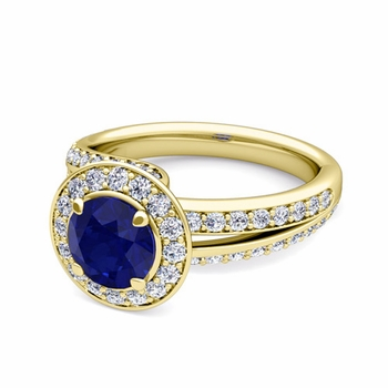 Wave Diamond and Sapphire Halo Engagement Ring in 18k Gold, 7mm