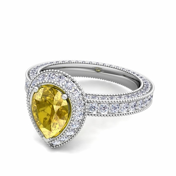 Milgrain Pear Shaped Yellow Sapphire and Diamond Engagement Ring in Platinum, 7x5mm