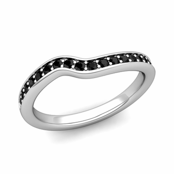 Petite Curved Black Diamond Wedding Band Ring in 14k Gold