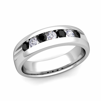 Channel Set Black and White Diamond Mens Wedding Band in Platinum, 6mm