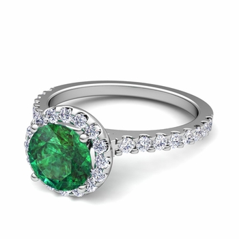 Petite Pave Set Diamond and Emerald Halo Engagement Ring in 14k Gold, 7mm