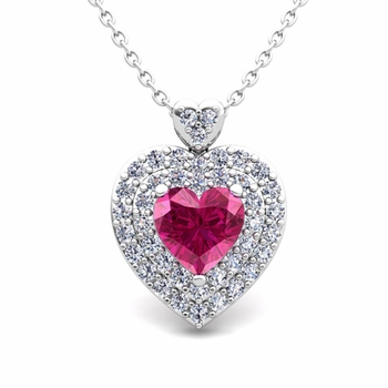 Two Heart Diamond and Pink Sapphire Necklace in 14k Gold Pendant