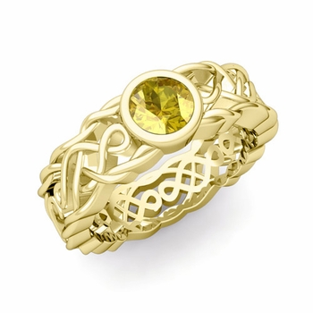 Solitaire Yellow Sapphire Ring in 18k Gold Celtic Knot Wedding Band, 5.5mm
