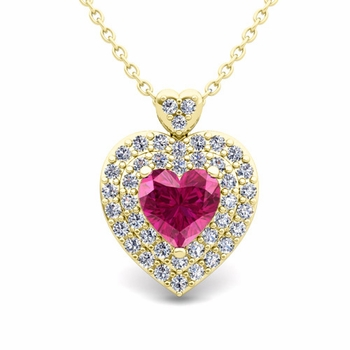 Two Heart Diamond and Pink Sapphire Necklace in 18k Gold Pendant