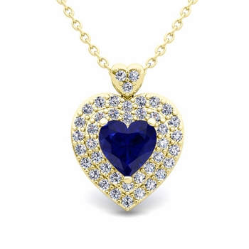 Two Heart Diamond and Sapphire Necklace in 18k Gold Pendant