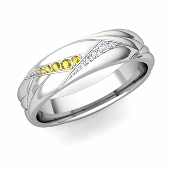 Wave Mens Wedding Band in Platinum Diamond and Yellow Sapphire Ring, 5.5mm