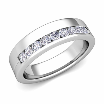 Channel Set Comfort Fit Diamond Wedding Ring in Platinum, 4mm