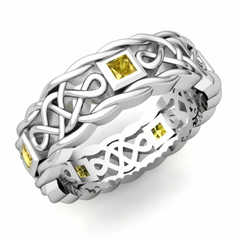 Princess Cut Yellow Sapphire Ring in Platinum Celtic Knot Wedding Band, 7mm