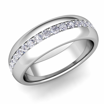 Pave Set Comfort Fit Diamond Wedding Band Ring in Platinum, 5.5mm